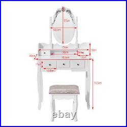 Black Dressing Table Vanity Makeup Desk with 5 Drawers, Mirror Set and Stool UK