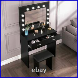 Black Makeup Dressing Table and Stool Set with LED Mirror & 2 Drawer Storage
