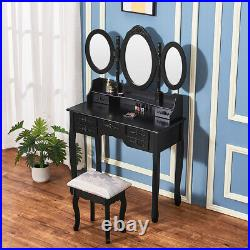 Black Vanity Dressing Table Makeup Desk with 3 Mirror, Stool Set and 7 Drawers