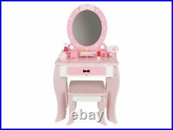 Children Wooden Dressing Table Vanity Set Mirror Stool Girls Make Up Role Play