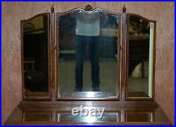Circa 1930's Figured Walnut Dressing Table & Stool Part Of Suite Trifold Mirrors