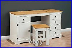 Corona Double Pedestal Computer Table or Dressing Table and Stool In Pine/White