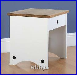 Corona Dressing Table Set Stool in White/Distressed Table MDF Pine Tops Panel