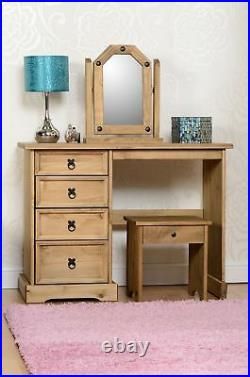 Corona Wooden Dressing Table Set with Stool and Mirror Distressed Waxed Pine