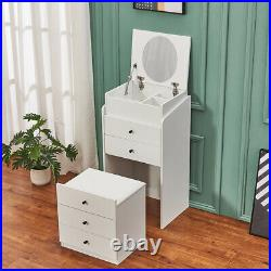 Dressing Table Chest of Drawers With Mirror & Stool Makeup Vanity Desk Bedroom