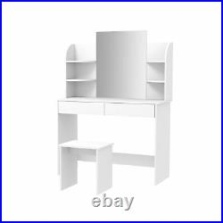 Dressing Table Makeup Jewelry Desk with Drawer Mirror Stool Shelves Bedroom White