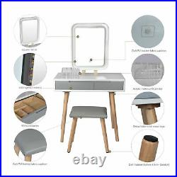 Dressing Table Set with LED Lighted Mirror Large Drawers & Stool Makeup Desk White