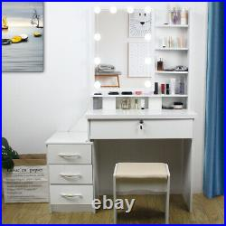 Dressing Table Stool Set Makeup Desk with Hollywood Mirror 10 LED Bulbs Lights