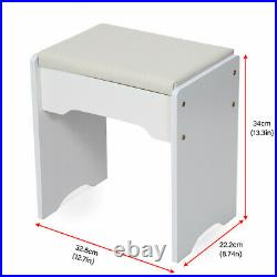Dressing Table Stool Set Mirror Makeup Vanity Jewellery Table with Drawers White