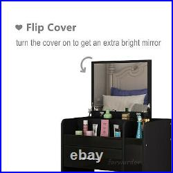 Dressing Table Stool Set Stool Mirror with LED light High Gloss Bedside Cabinet