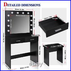 Dressing Table Stool Set withLED Light Mirror Makeup Table 2 Large Drawers Black