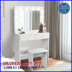 Dressing Table Stool Set withLED Light Mirror Vanity Makeup Table 2 Large Drawers