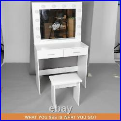 Dressing Table Stool Set withLED Light Mirror Vanity Table 2 Large Drawers White