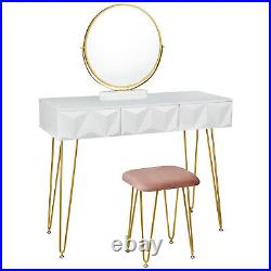 Dressing Table Stool with 360° Swiveling Mirror 3 Drawers Makeup Desk Dresser