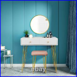 Dressing Table Stool with Mirror 2 Drawers Makeup Desk Dresser MDF White