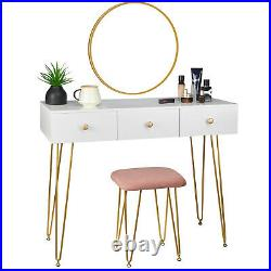 Dressing Table Stool with Mirror 3 Drawers Makeup Desk Dresser MDF White
