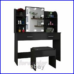 Dressing Table with Stool Set 2 Drawers Console Table Desk Mirror with Lights