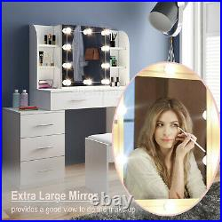 Dressing Table with Stool Set 5 Drawers Console Table Desk Mirror with Lights