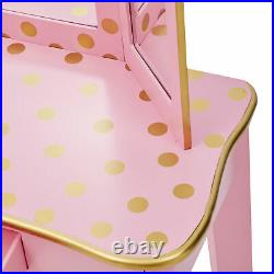Fantasy Fields Kids Vanity Set Wooden Table With Mirror & Stool Pink TD-11670L