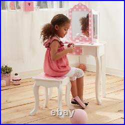 Fantasy Fields Kids Vanity Set Wooden Table with Mirror & Stool Pink TD-11670F