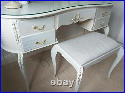 French Louis Style Dressing Table & Stool. Refurbished In Dove Grey & Gold