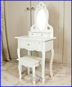 Girls White Wooden Make Up Dressing Table Crystal Knobs, Stool & Mirror 3-7Years