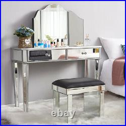 Glass Dressing Table Stool Mirrored Bedroom Make-Up Console Vanity Table Set UK