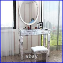 Gorgeous Mirrored Dressing Table Glass 2 Drawers Vanity Table / Leather Stool