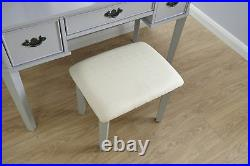 Grey Dressing Table Set with Stool and Triple Mirror 3 Drawer Bedroom Furniture