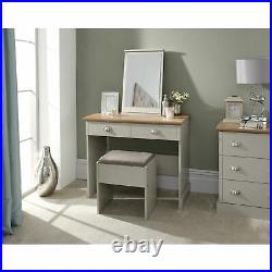 Grey Kendal Dressing Table Set With Mirror And Stool 2 Drawer Storage Slots