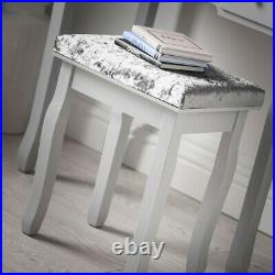 Grey Modern Dressing Table with Touch LED Mirror 5 Drawers Stool Set Makeup Desk