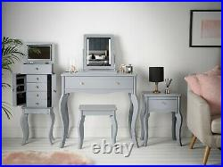Grey Vintage Design Dressing Table With 1 Drawer Vanity Unit and Stool Set