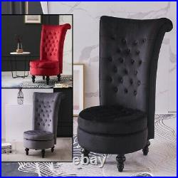 High Back Dressing Table Chair With Storage Throne Chair Velvet Upholstered Seat