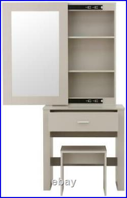 Hobson Dressing Vanity Table Set With Stool and Sliding Mirror Grey