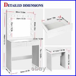 LED Dressing Table Stool Set Large Mirror Makeup Desk With 2 Drawers & 12 Lights