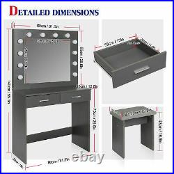 LED Mirror Makeup Dressing Table & Stool Set Desk with 2 Drawers Storage Bedroom