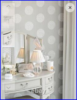 Laura Ashley, Clifton Shaped Dressing Table, 5 Draws, Stool and Mirror, Dove Grey