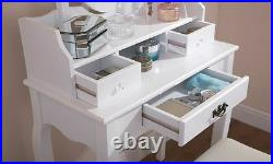 Lumberton Antique Style White Dressing Table With Stool and Mirror