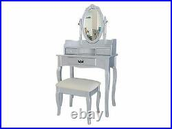 Lumberton Dressing Table, Stool and Mirror Set Silver Antique Style Design