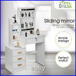 Luxury Dressing Table with4 Drawers & Sliding Mirror Stool Makeup Desk Vanity Sets