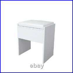 Luxury White Corner Dressing Table Multi-angle Mirror With Stool Desk 5 Drawers