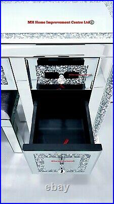 Mirrored Dressing Table 7 Drawers Sparkly Silver Diamond Crush Crystal with Stool