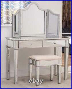 Mirrored Modern Style bedroom Furniture set Dressing Table Set with stool