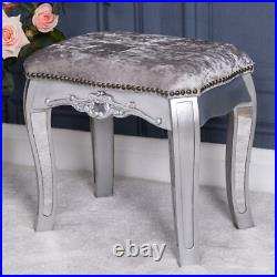 Mirrored Silver Stool Glass Fabric Ornate Dressing Table Venetian Bedroom Home