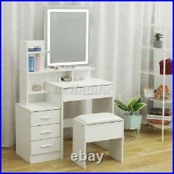 Modern Dressing Table Makeup Desk withDimmable LED Lighted Mirror&Drawer, Stool
