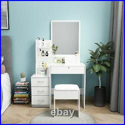 Modern Dressing Table with Mirror & 4 Drawers Stool Vanity Set Makeup Desk White
