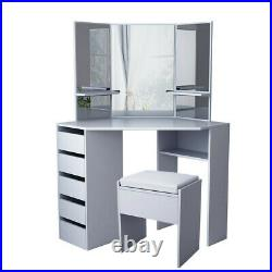 Modern Grey Corner Dressing Table Multi-angle Mirror With Stool Desk 5 Drawers