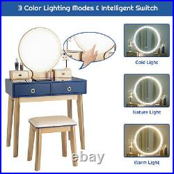 Modern Makeup Desk withLighted Mirror & Cushioned Stool Dressing Table Vanity Set
