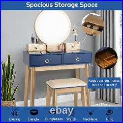 Modern Makeup Table Set Vanity Dressing Table With Stool LED Mirror & 4 Drawers