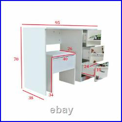 Modern Mirrored Glass Dressing Table Stool Vanity Set Makeup Desk with 3 Drawers